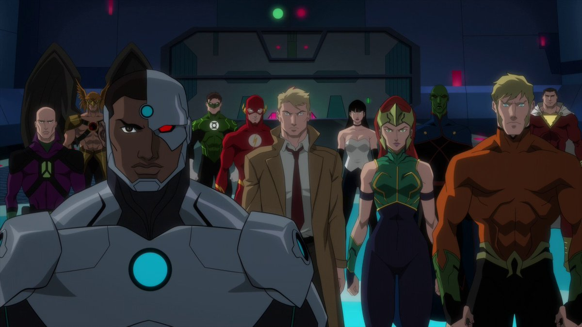 Justice League line-up - Lex Luthor, Hawkman, Cyborg, Green Lantern, The Flash, John Constantine, Lady Shiva, Mera, Martian Manhunter, Aquaman and Shazam in Justice League Dark: Apokolips War (2020)
