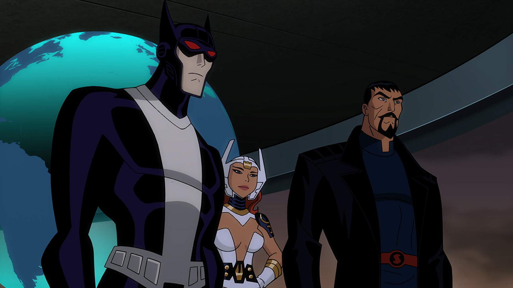 The alternate world Justice League - Batman, Wonder Woman and Superman in Justice League Gods and Monsters (2015)
