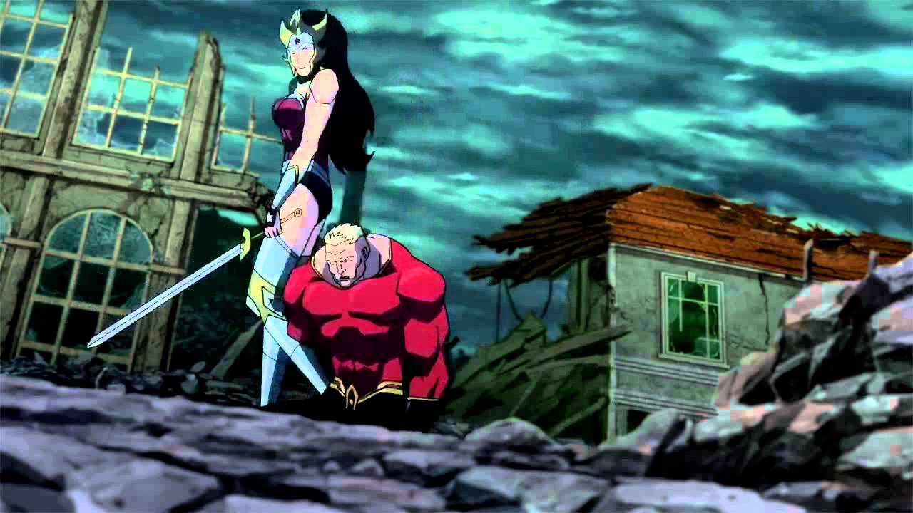 Wonder Woman with Aquaman her prisoner in Justice League The Flashpoint Paradox (2013)