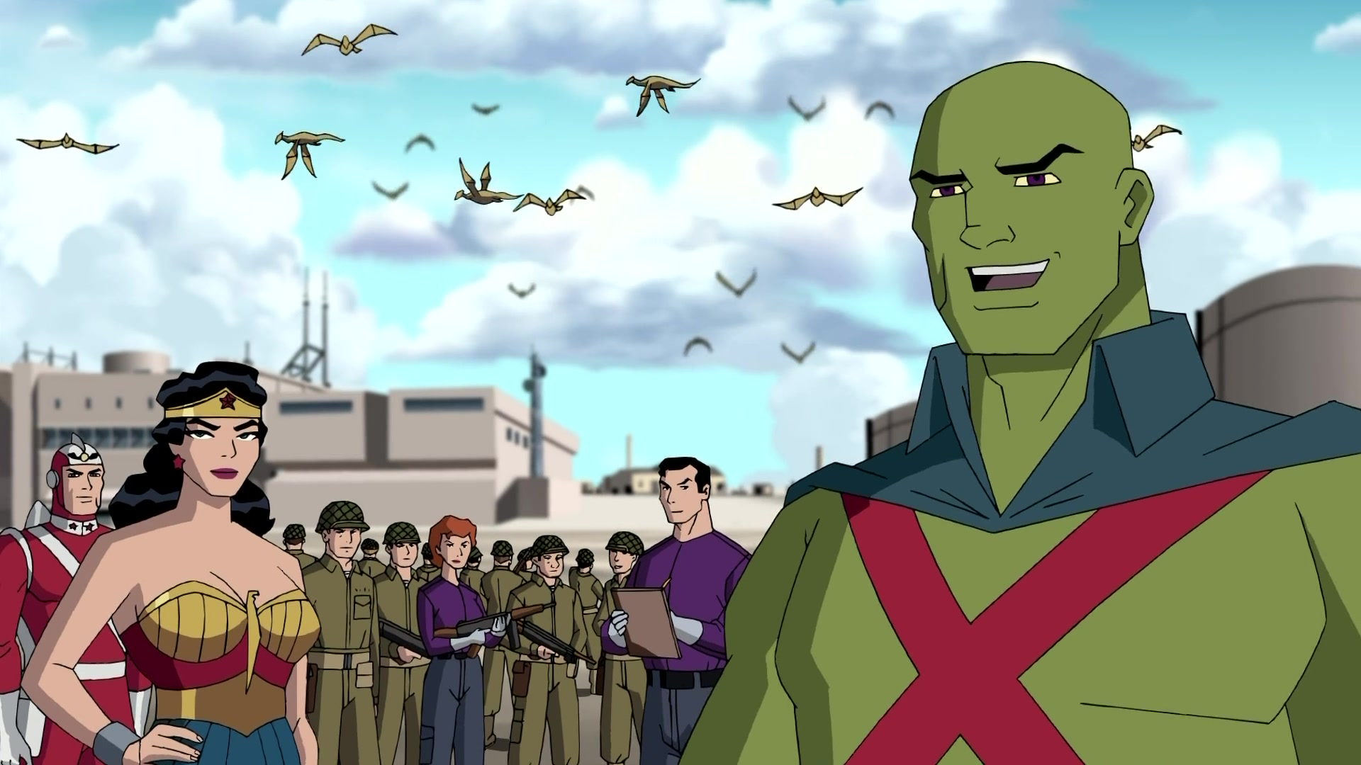 J'onn J'onnz the Martian Manhunter, Adam Strange and Wonder Woman in Justice League The New Frontier (2008)