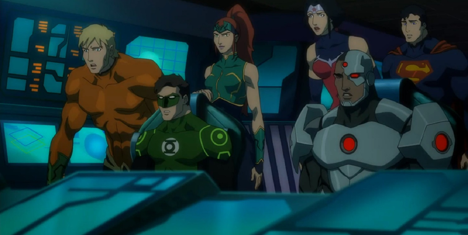 Aquaman, Green Lantern, Mera, Wonder Woman, Cyborg and Superman in Justice League Throne of Atlantis (2015)