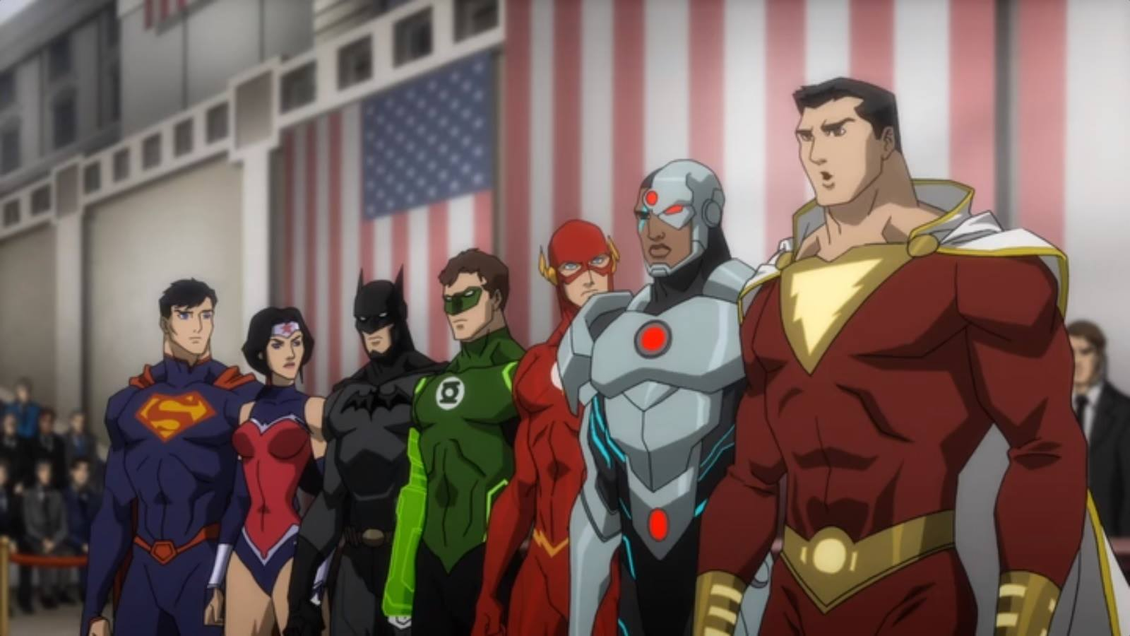 The New 52 Justice League line-up - Superman, Wonder Woman, Batman, Green Lantern, The Flash, Cyborg and Shazam in Justice League War (2014) 2