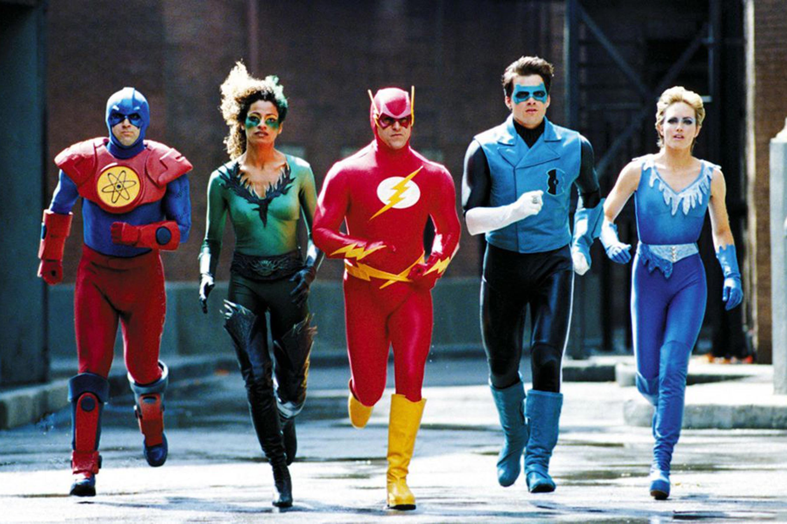 The Justice League - (l to r) The Atom (John Kassir), Fire (Michelle Hurd), The Flash (Kenny Johnston), Green Lantern (Matthew Settle) and Ice (Kim Oja) in Justice League of America (1997)