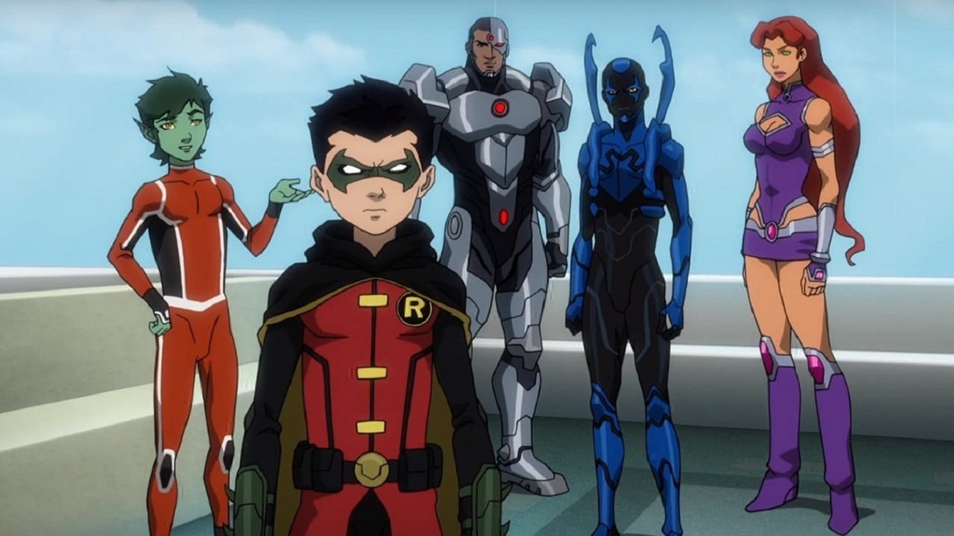 Beast Boy, Damian Wayne/Robin, Cyborg, Blue Beetle and Starfire in Justice League vs Teen Titans (2016)