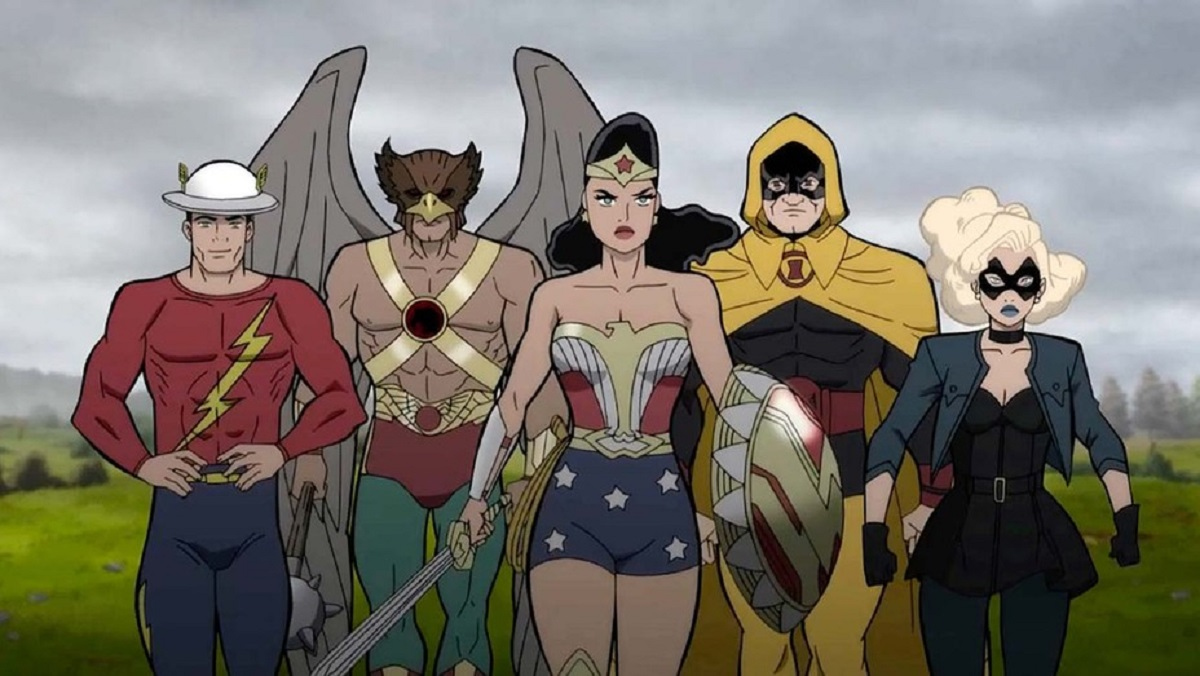 The Flash (Jay Garrick), Hawkman, Wonder Woman, Hourman and Black Canary in Justice Society: World War II (2021)