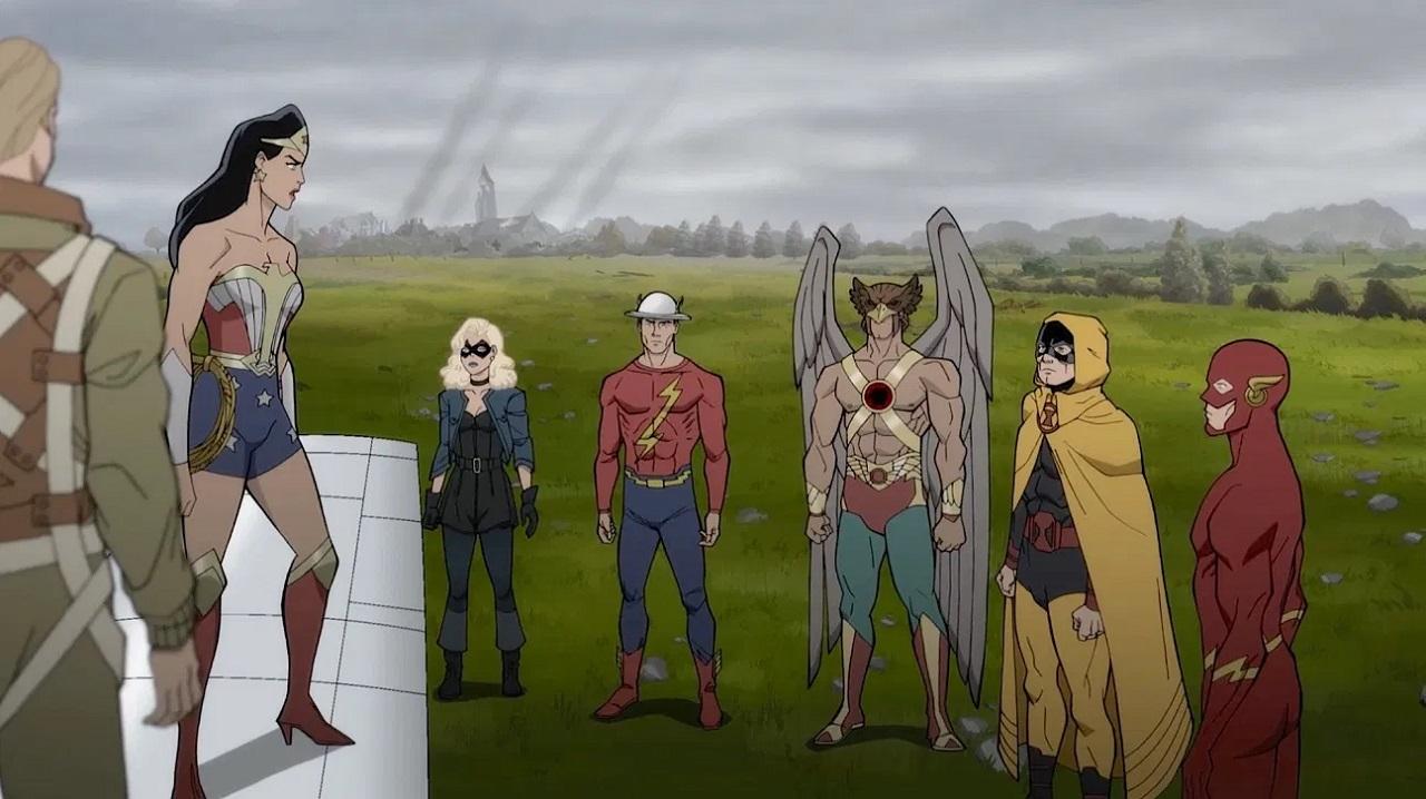 Wonder Woman, Black Canary, The Flash (Jay Garrick), Hawkman, Hourman and The Flash (Barry Allen) in Justice Society: World War II (2021)