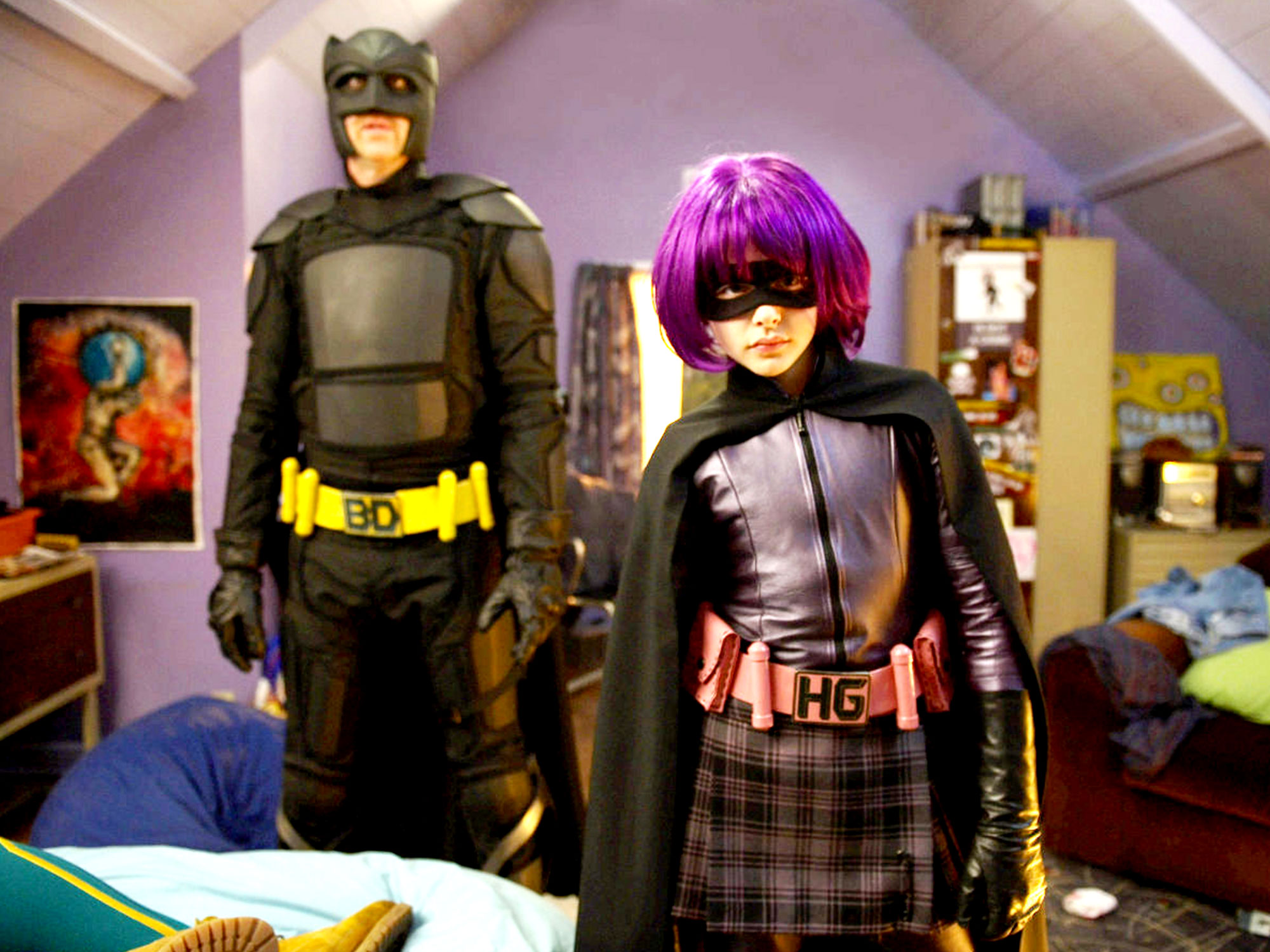 Hit Girl (Chloe Grace Moretz) and her father Big Daddy (Nicolas Cage) in Kick-Ass (2010)