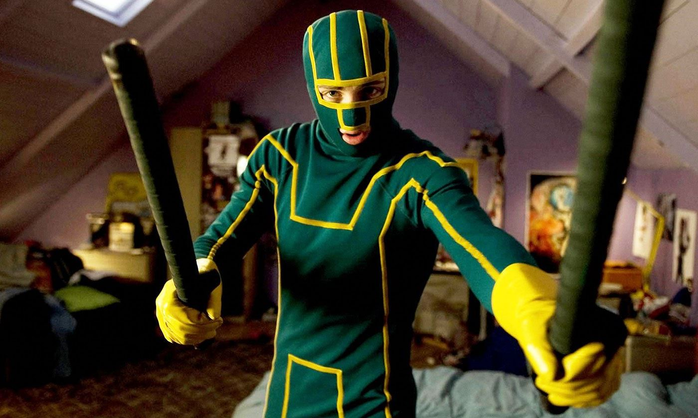 Aaron Johnson as Dave Lizewski in costume as Kick-Ass (2010)