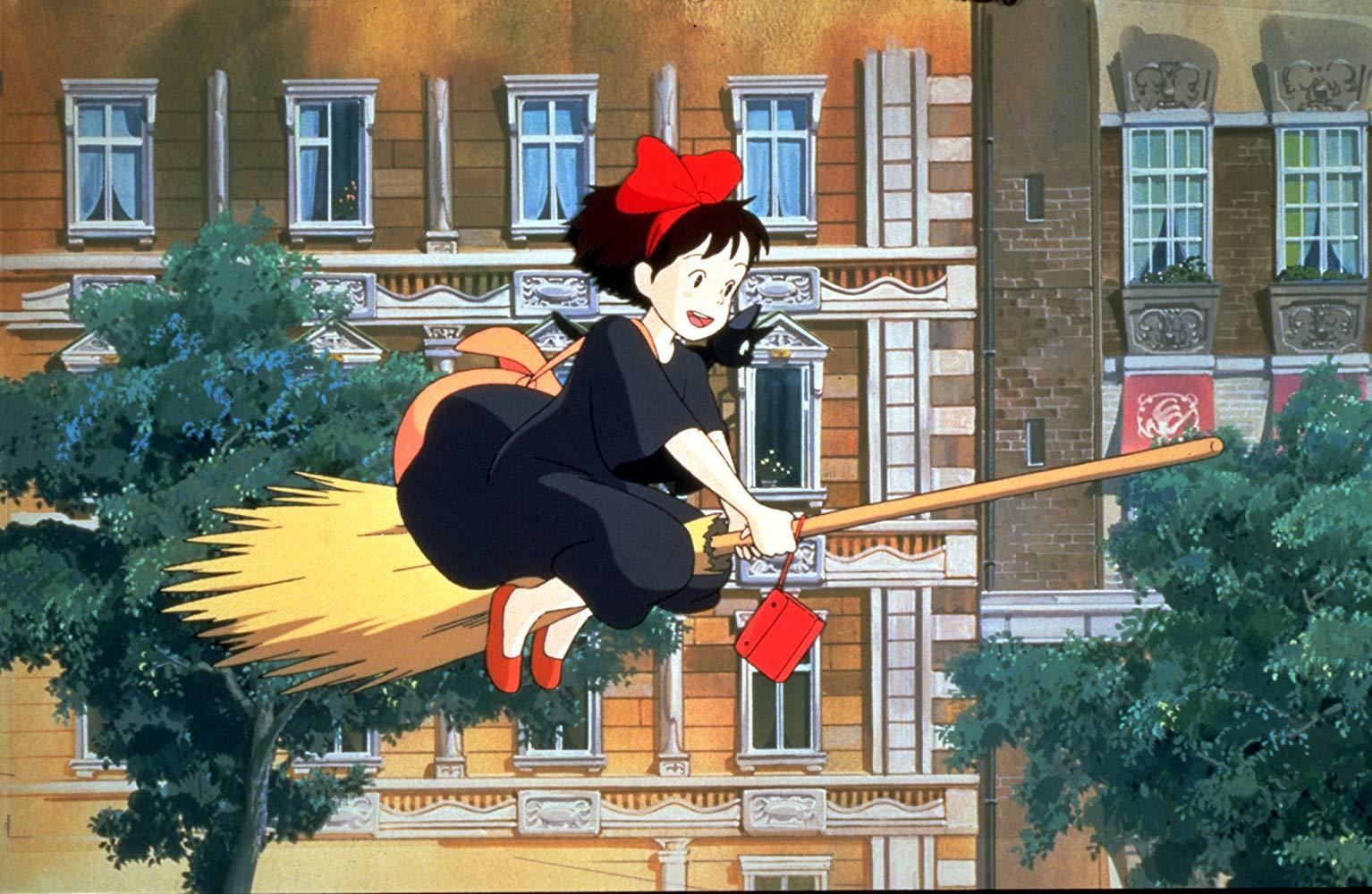 Kiki in flight on her bromstick in Kiki's Delivery Service (1989)