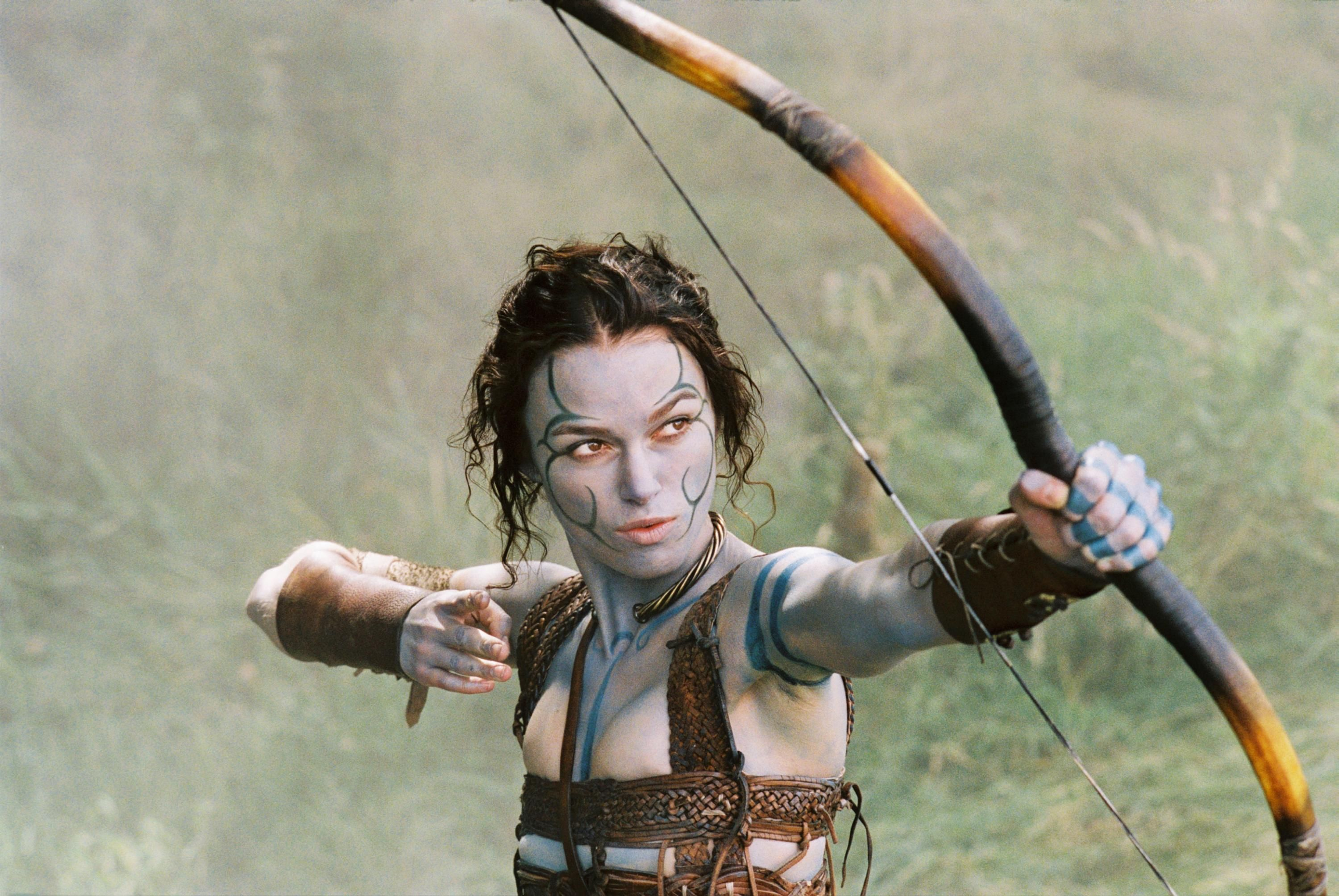 Keira Knightley as Guinevere, now a Celtic warrior woman in King Arthur (2004)