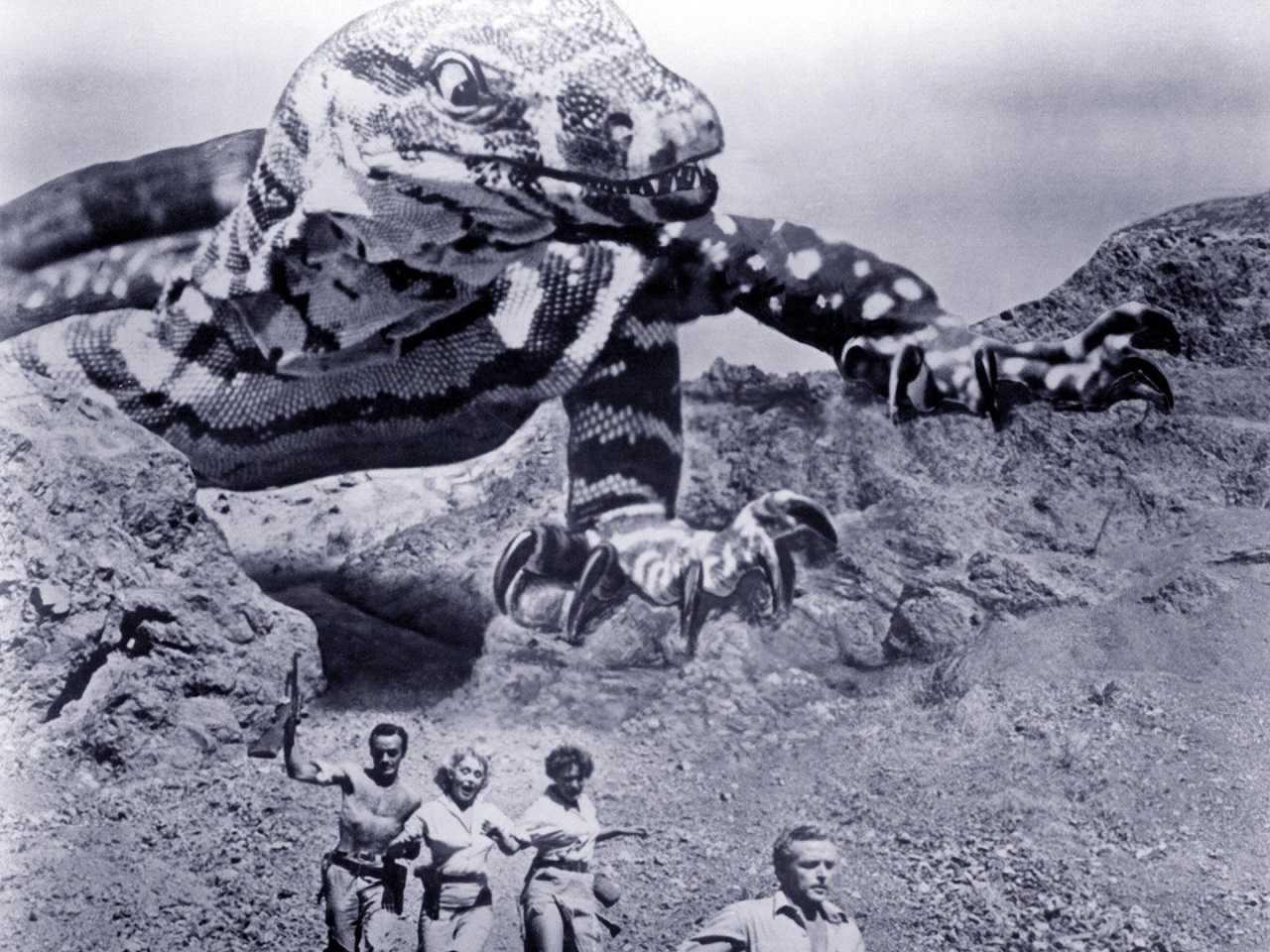 Douglas Henderson, Wanda Curtis, Patti Gallagher and Bill Bryant flee dinosaur attack in King Dinosaur (1955)