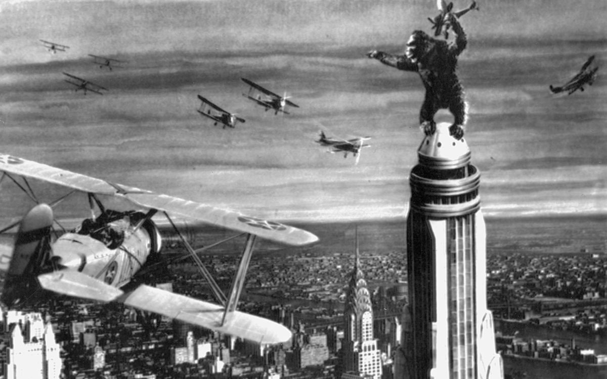 Kong atop the Empire State Building in King Kong (1933)