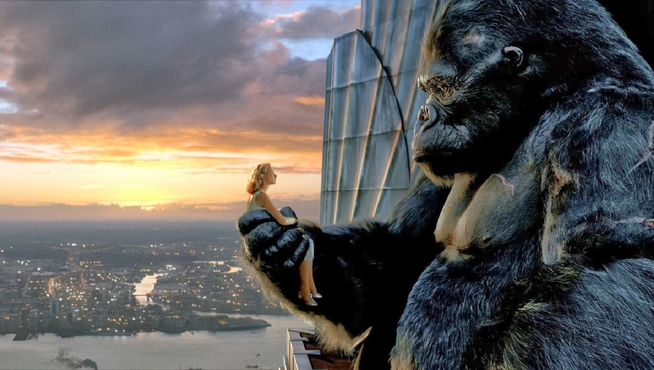 Kong and Ann Darrow (Naomi Watts) share a tender moment atop the Empire State Building in King Kong (2005)
