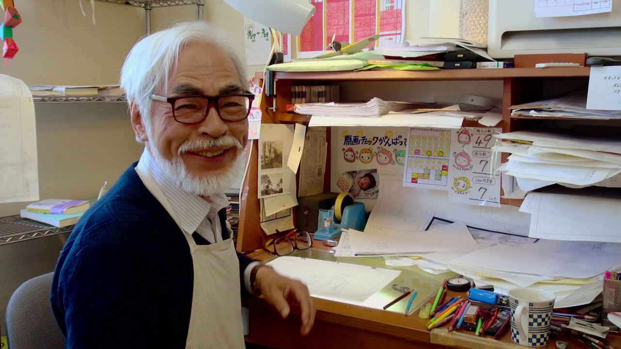 Hayao Miyazaki at his desk in The Kingdom of Dreams and Madness (2013)