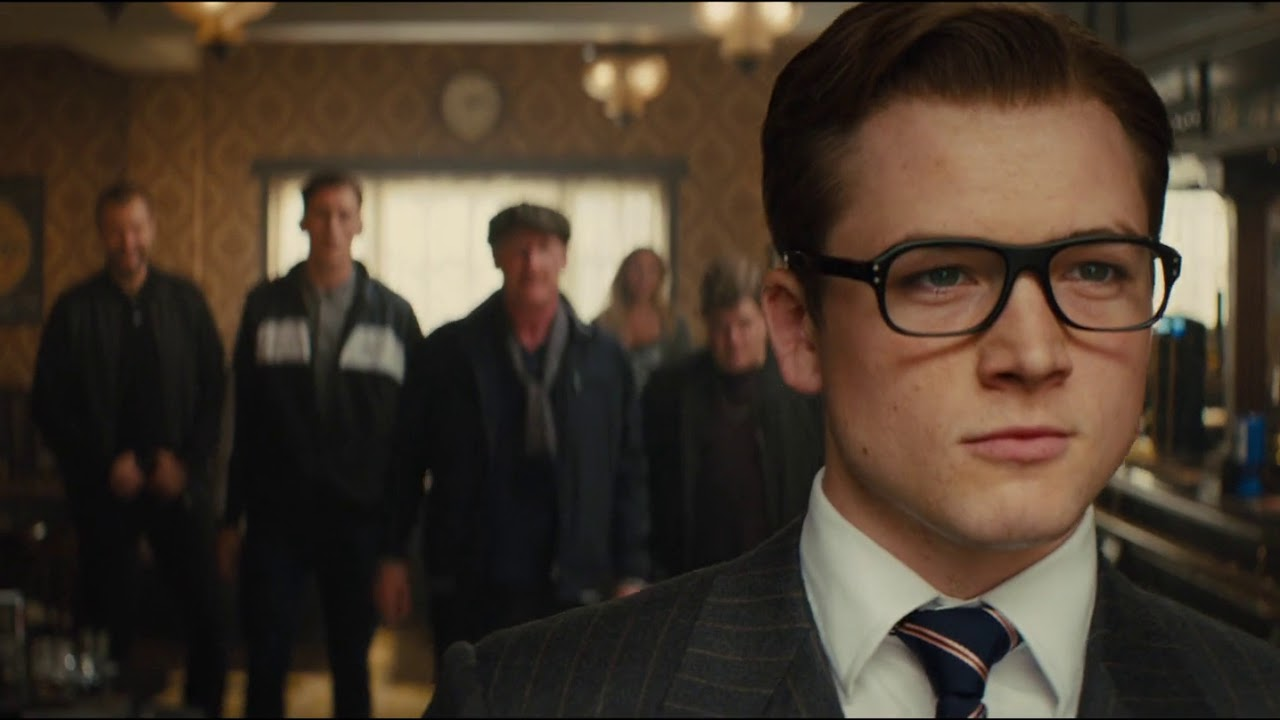 Eggsy (Taron Egerton) about to enter action as a Kingsman agent in Kingsman: The Secret Service (2015)