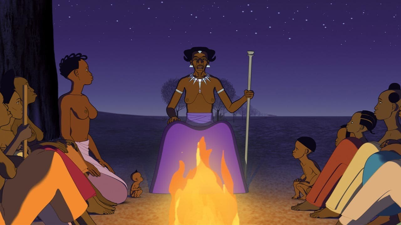 The Girotte sits down to tell the village a story in Kirikou and the Men and Women (2012)