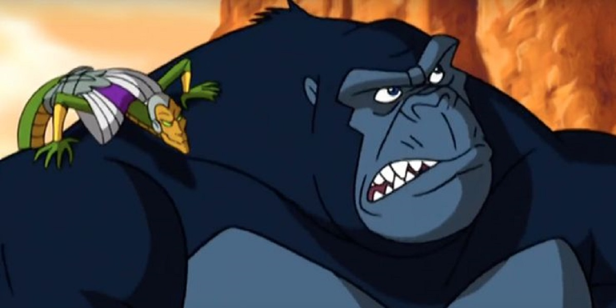 Kong with one of the Atlantean lizard people in Kong, King of Atlantis (2005)
