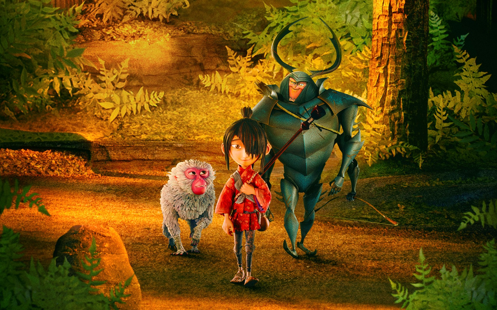 (l to r) Monkey (voiced by Charlize Theron), Kubo (voied by Art Parkinson) and Beetle (voiced by Matthew McConaughey) in Kubo and the Two Strings (2016)