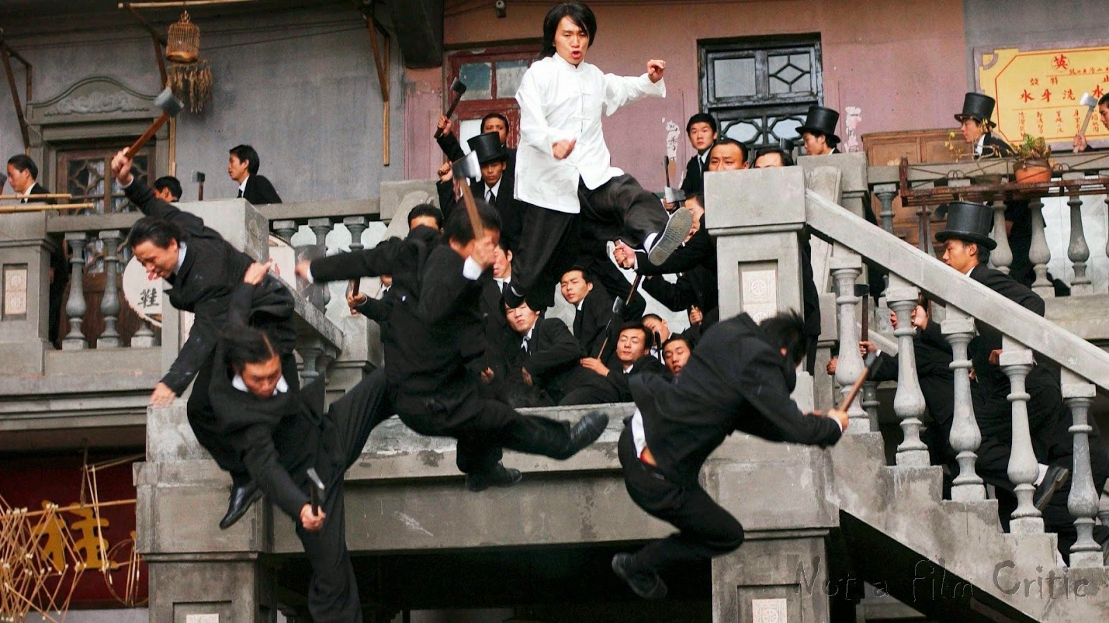 Stephen Chow in the midst of one of the sensational fight sequences in Kung Fu Hustle (2004)