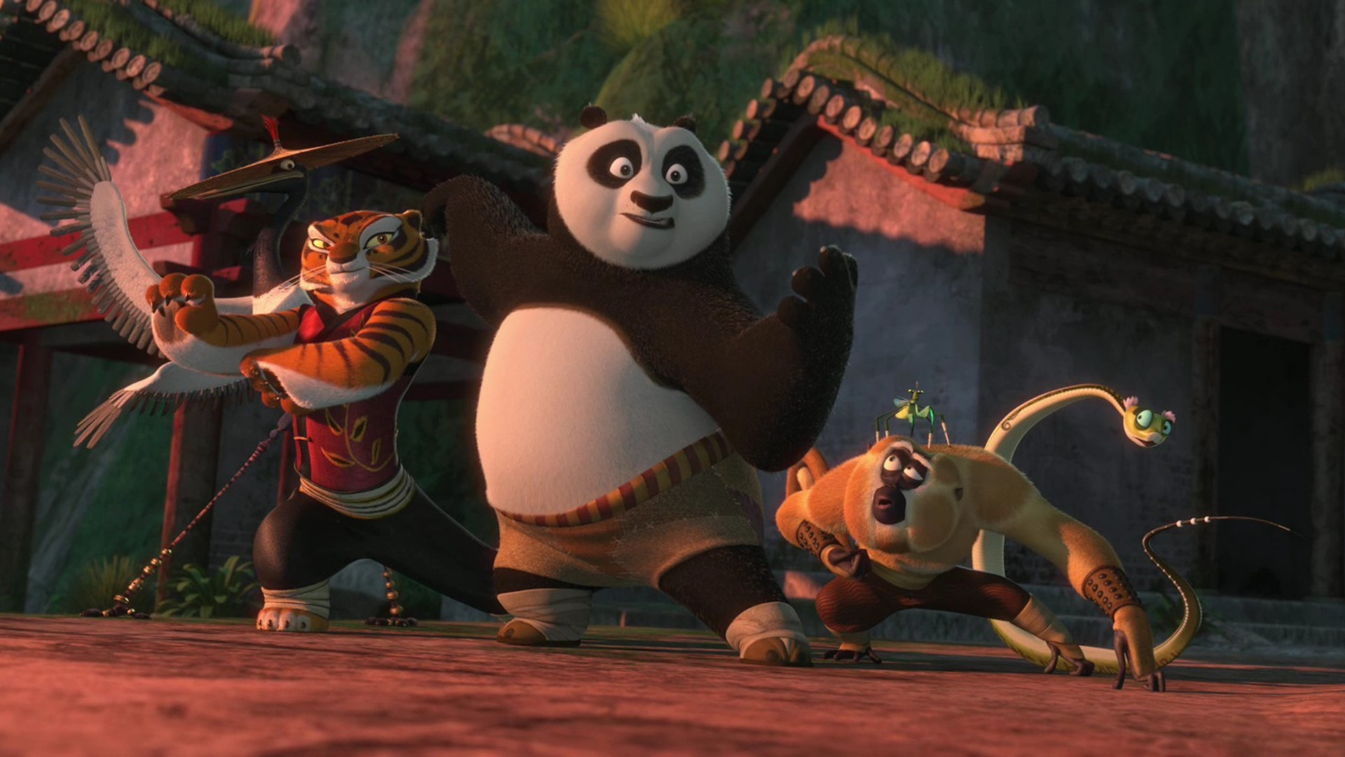 (l to r) Crane (voiced by David Cross), Tigress (voiced by Angelina Jolie), Po (voiced by Jack Black), Monkey (voiced by Jackie Chan), Mantis (voiced by Seth Rogen) and Viper (voiced by Lucy Liu) in Kung Fu Panda 2 (2011)