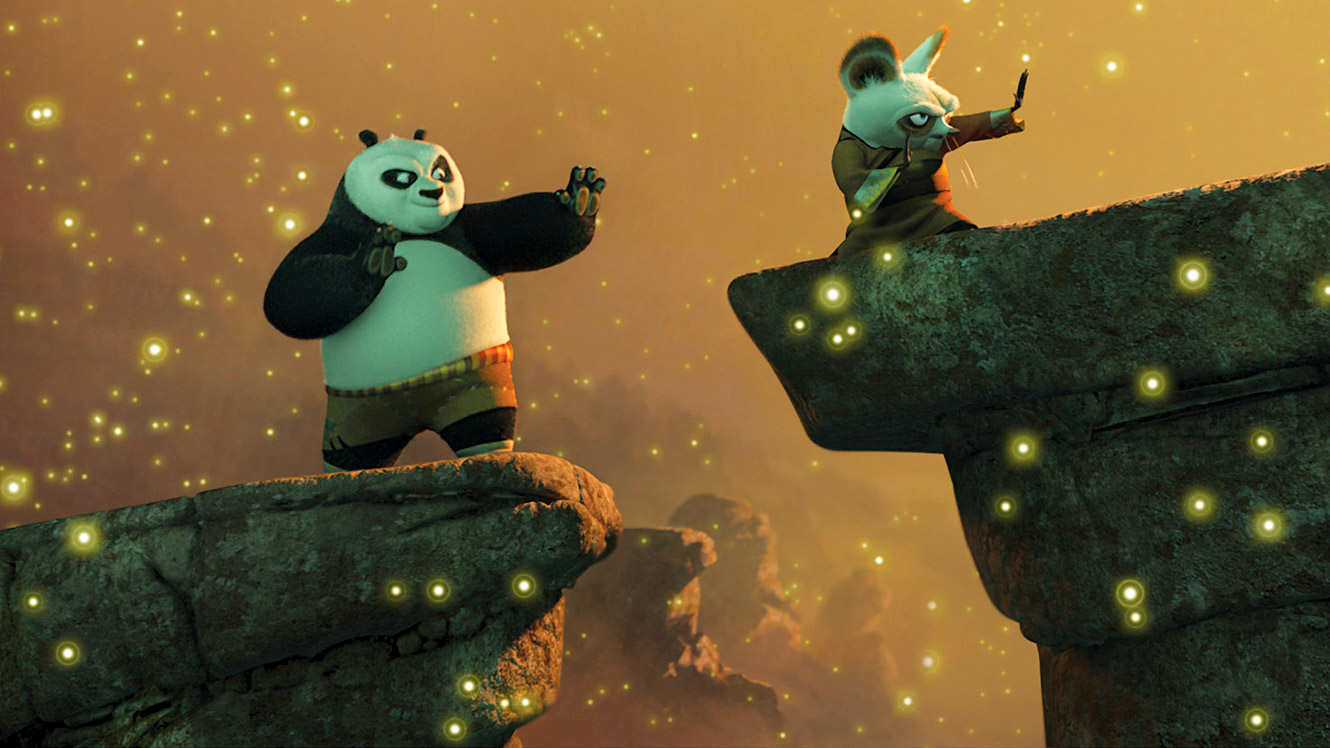 Po in training with Master Shifu in Kung Fu Panda (2008)