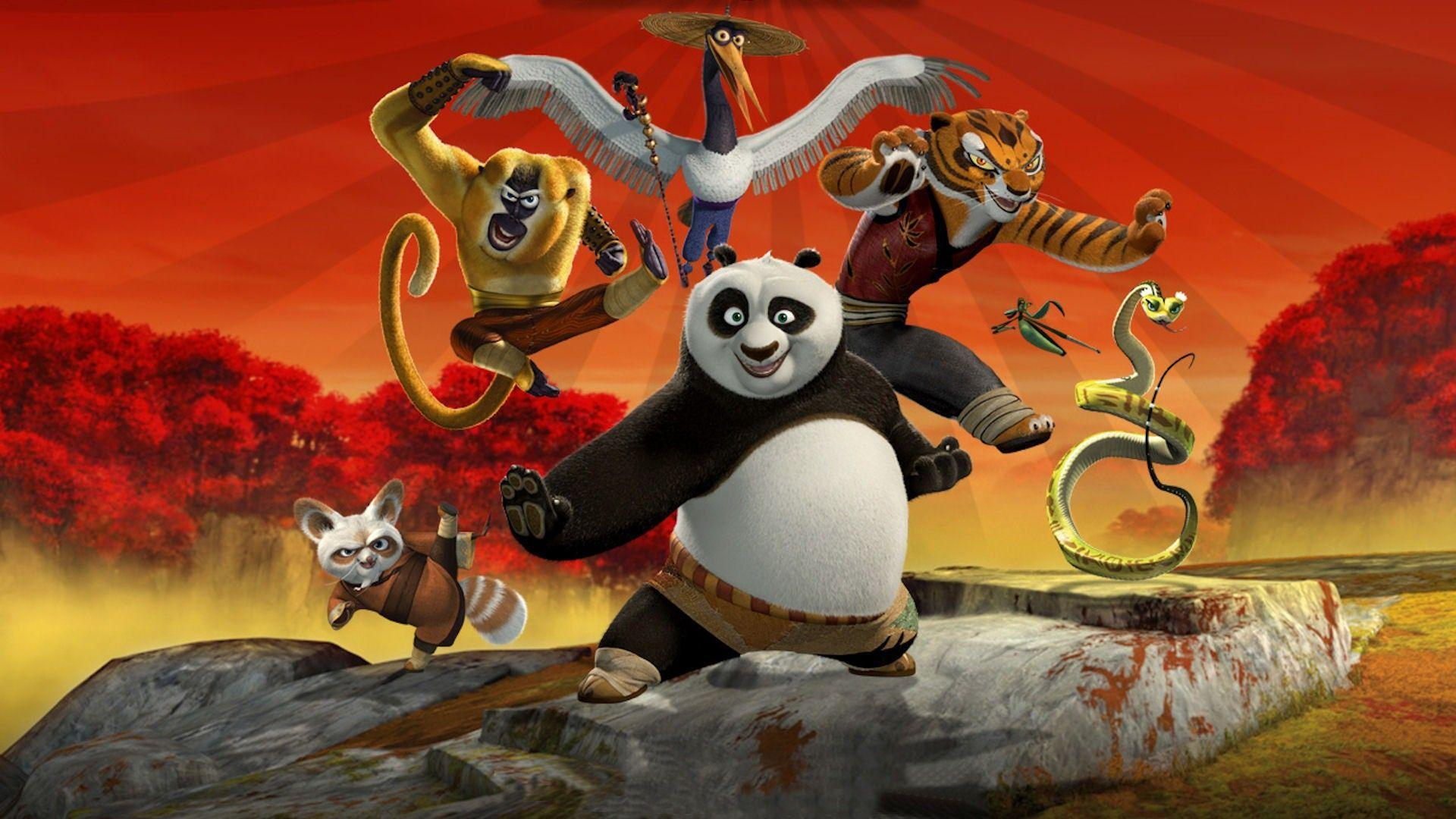 Master Shifu (voiced by Dustin Hoffman), Master Monkey (voiced by Jackie Chan), Master Crane (voiced by David Cross), Master Tigress (voiced by Angelina Jolie), Master Mantis (voiced by Seth Rogen), Master Viper (voiced by Lucy Liu) and Po (voiced by Jack Black) in Kung Fu Panda (2008)