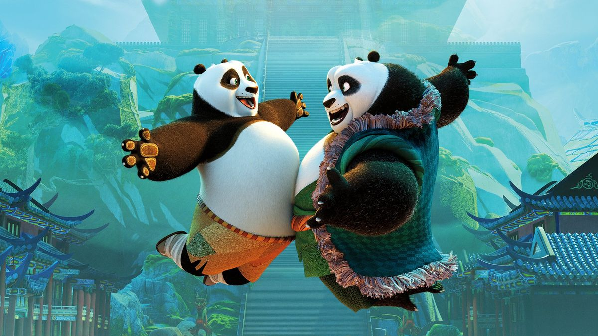 (l to r) Po (voiced by Jack Black) meets his father Li Shan (voiced by Bryan Cranston) in Kung Fu Panda 3 (2016)