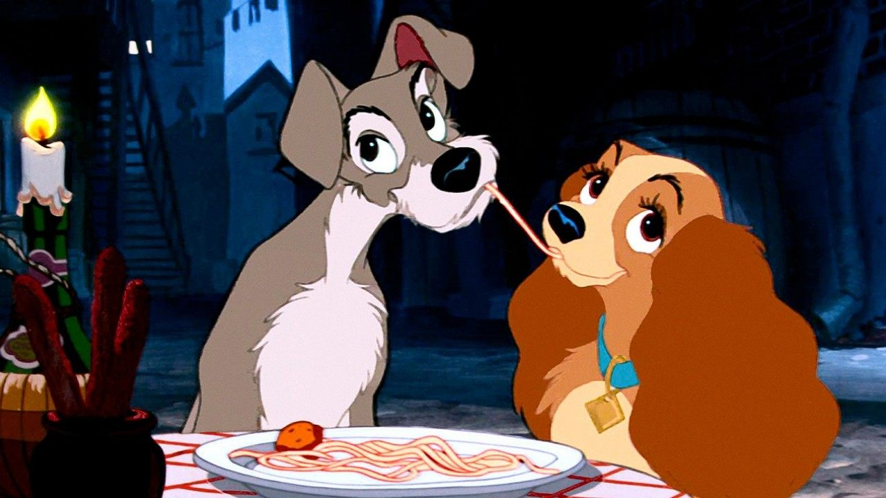 The classic spaghetti eating scene in Lady and the Tramp (1955)