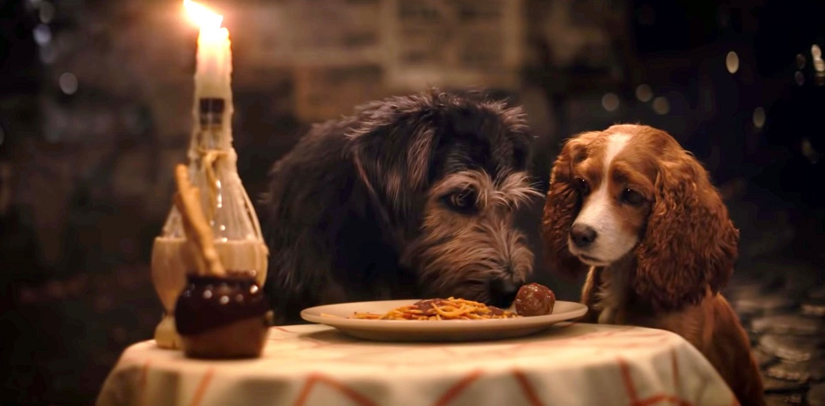 Live-action replication of the famous meatball scene in Lady and the Tramp (2019)