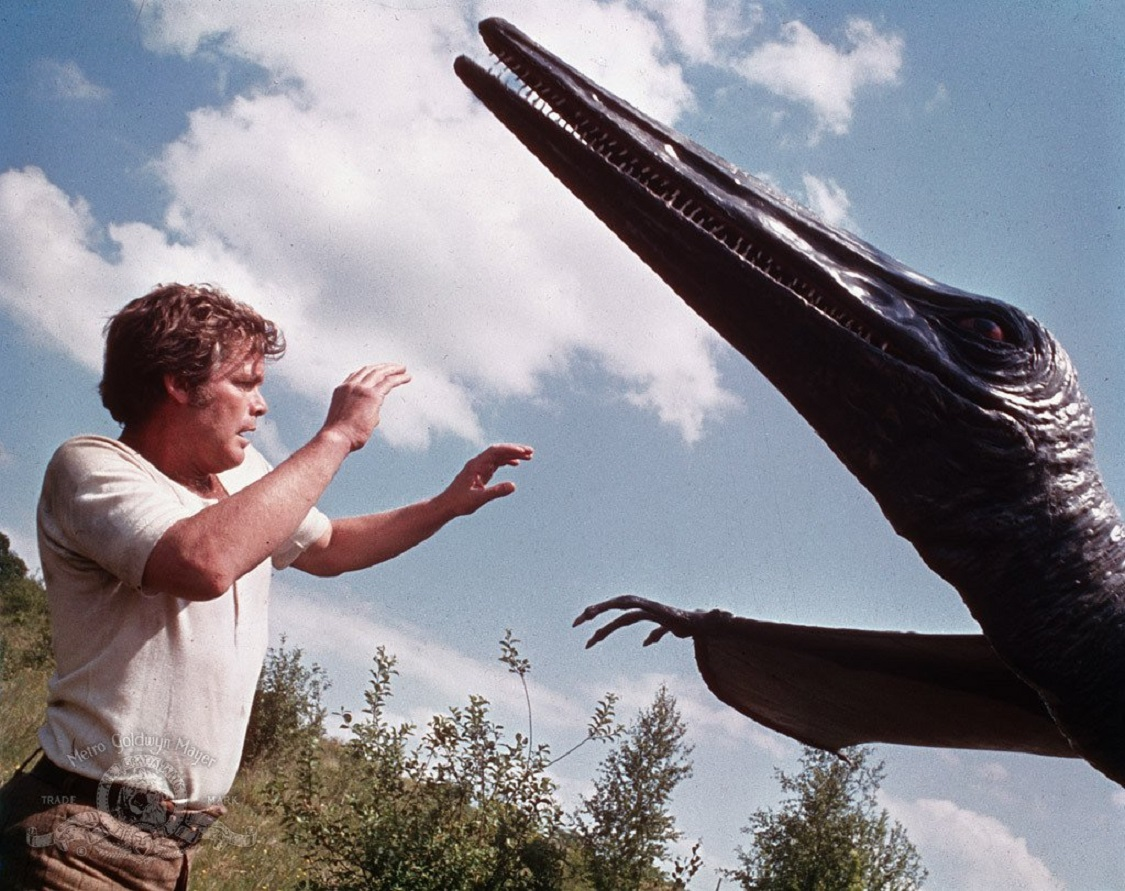 Bowen Tyler (Doug McClure) encounters a pterodactyl in The Land That Time Forgot (1974)