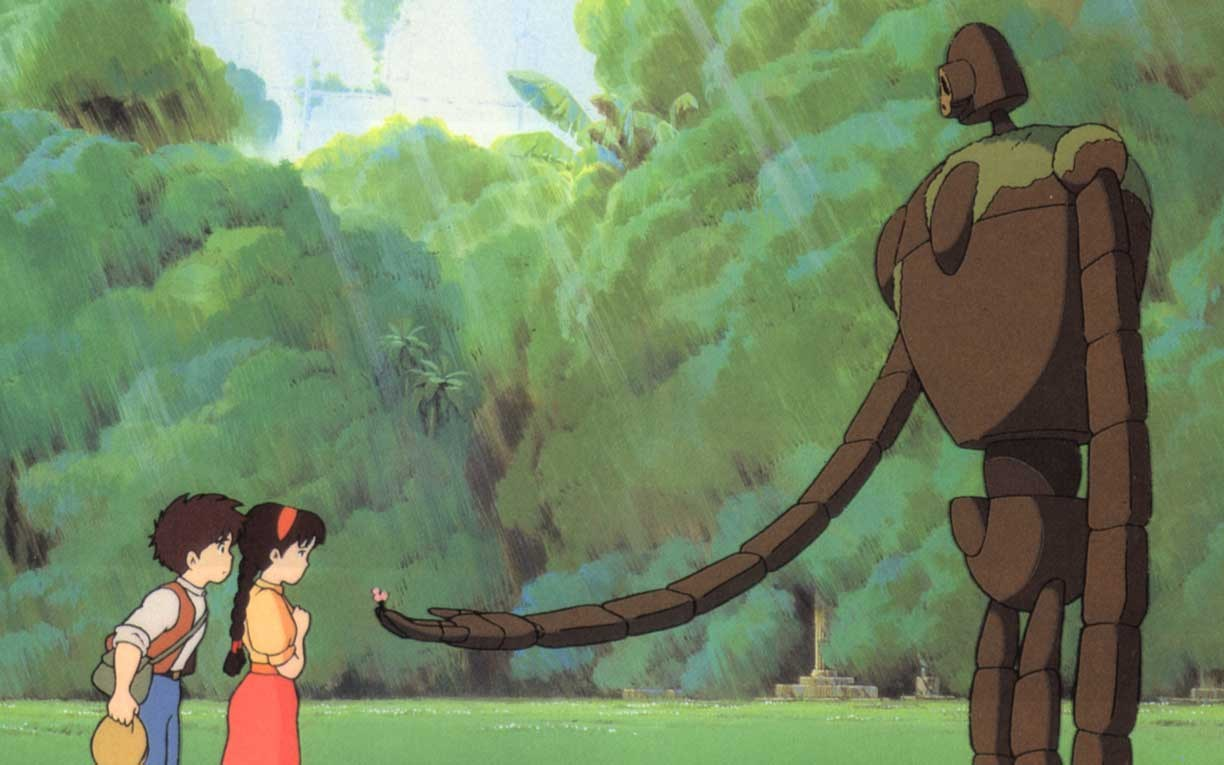 Sheeta and Pazu encounter the guardian robot in Laputa: Castle in the Sky (1986)