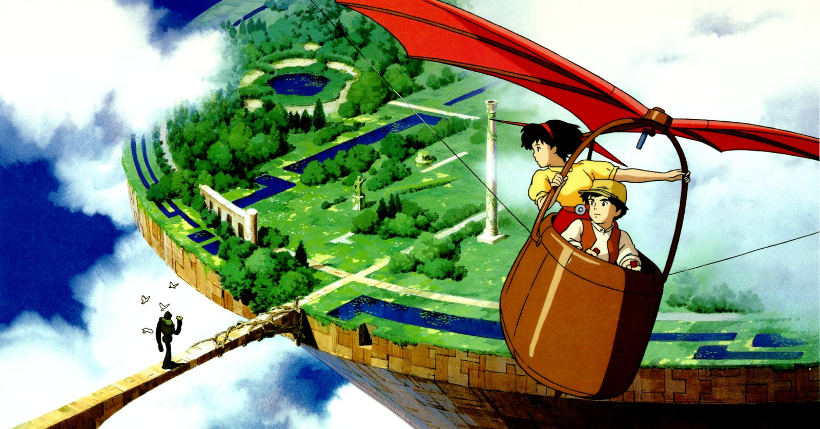 Sheeta and Pazu in the city in the clouds in Laputa: Castle in the Sky (1986)