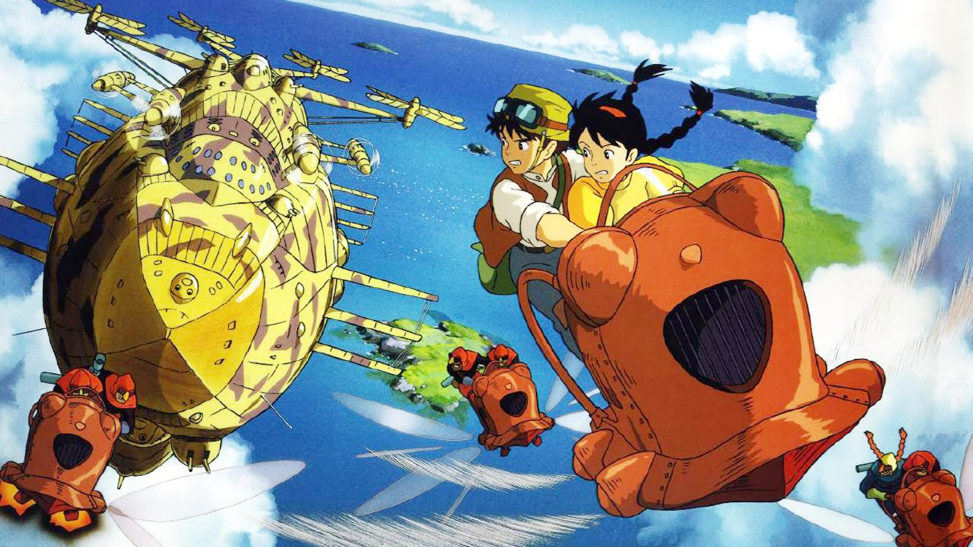 Sheeta and Pazu in their flight from the pirates in Laputa: Castle in the Sky (1986)