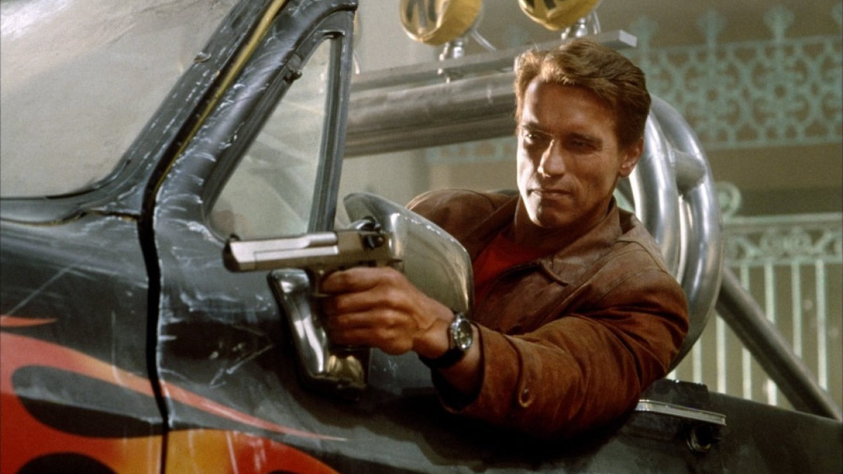 Arnold Schwarzenegger playing Jack Slater in Last Action Hero (1993)
