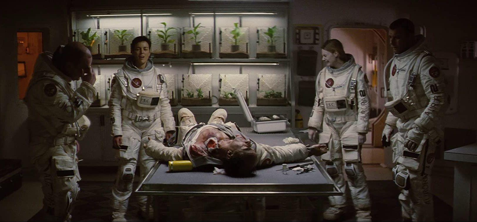 The crew of the Aurora 2 - Johnny Harris, Olivia Williams, Elias Koteas, Romola Garai and Liev Schreiber in The Last Days on Mars (2013)