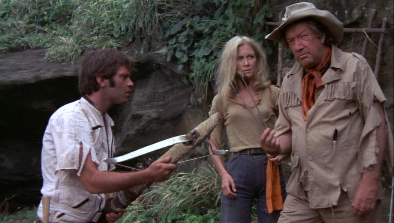 Explorers Steven Keats, Joan Van Ark and Richard Boone in The Last Dinosaur (1977)