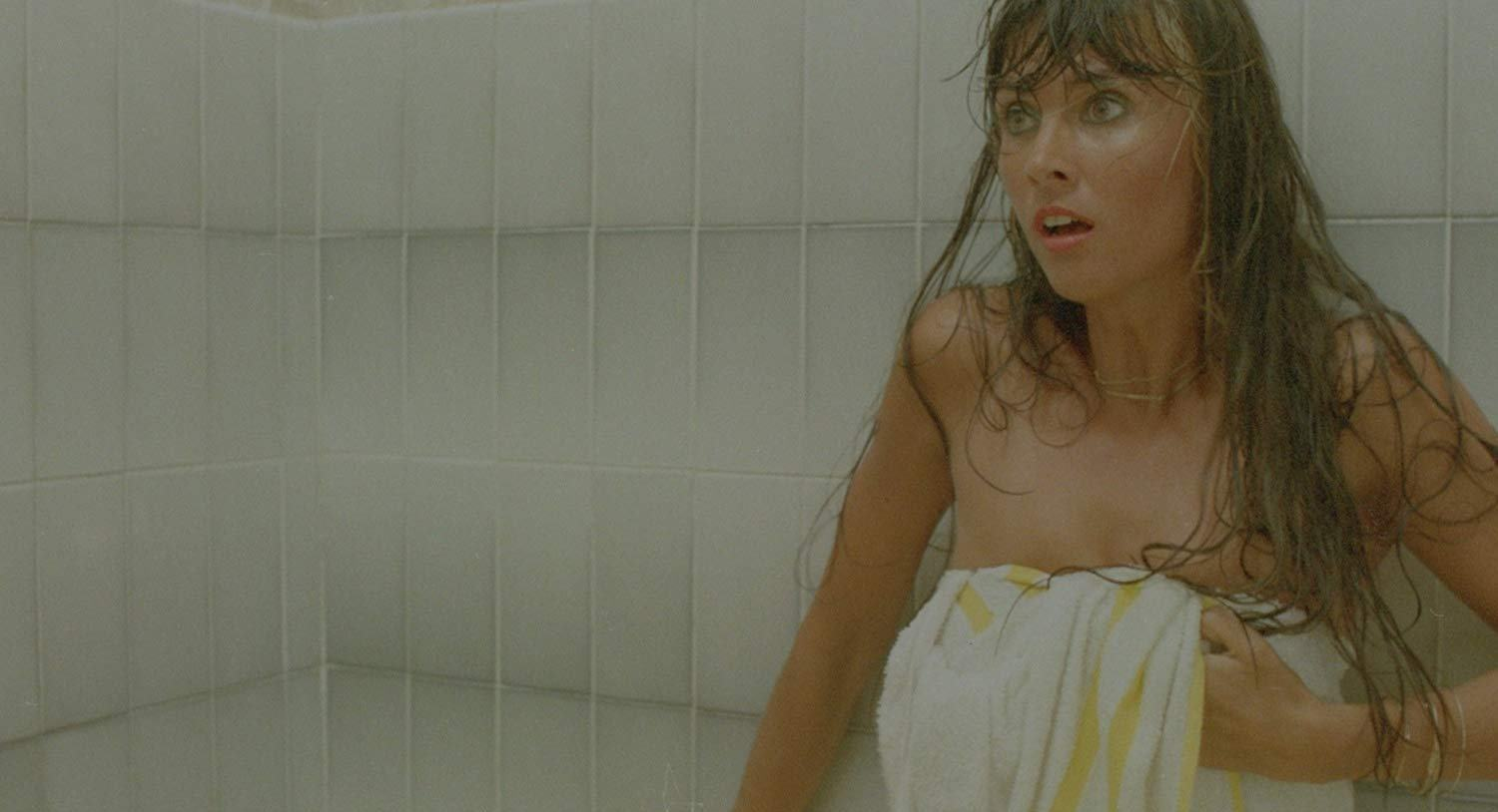 Caroline Munro in towel in The Last Horror Film (1982)