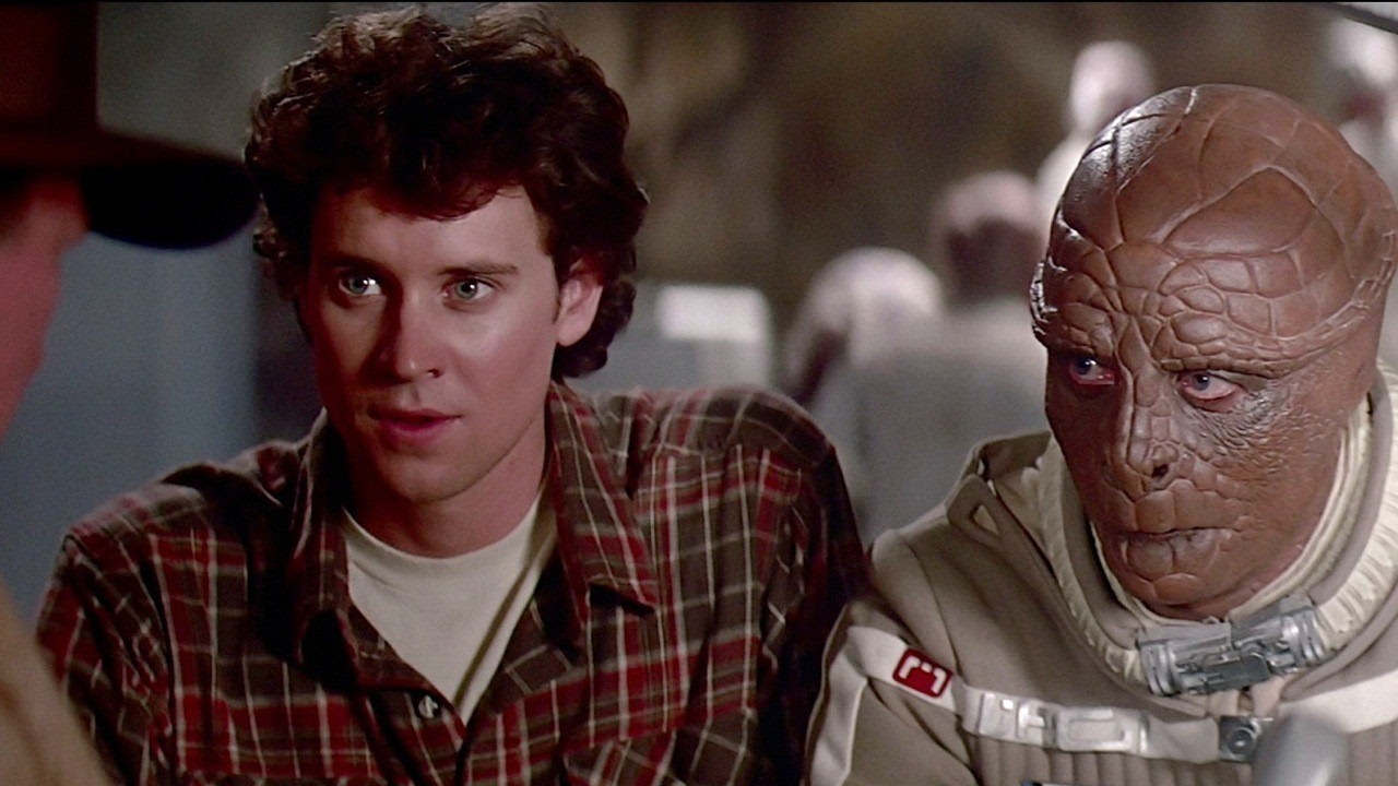 Alex Rogan (Lance Guest and his co-pilot Grig (Dan O'Herlihy) in The Last Starfighter (1984)