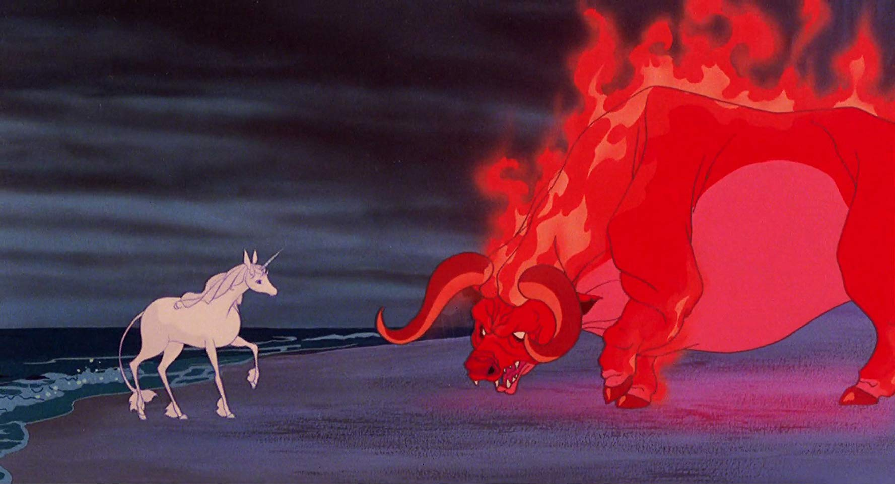 The unicorn faces the Red Bull in The Last Unicorn (1982)
