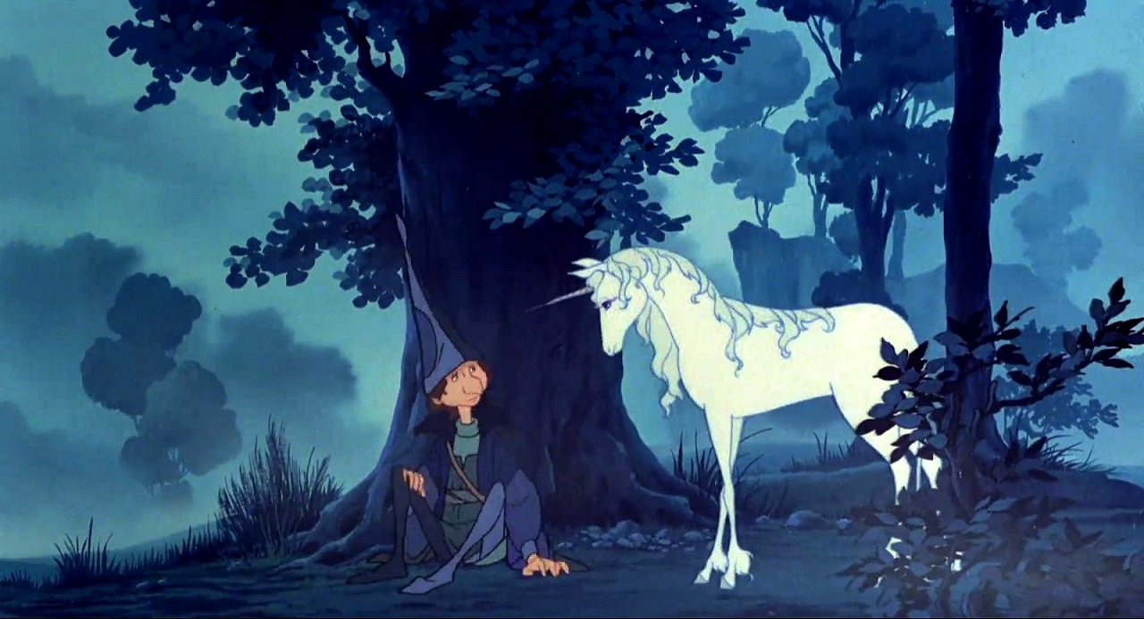 The wizard Schmendrick (voiced by Alan Arkin) and the unicorn (voiced by Mia Farrow) in The Last Unicorn (1982)