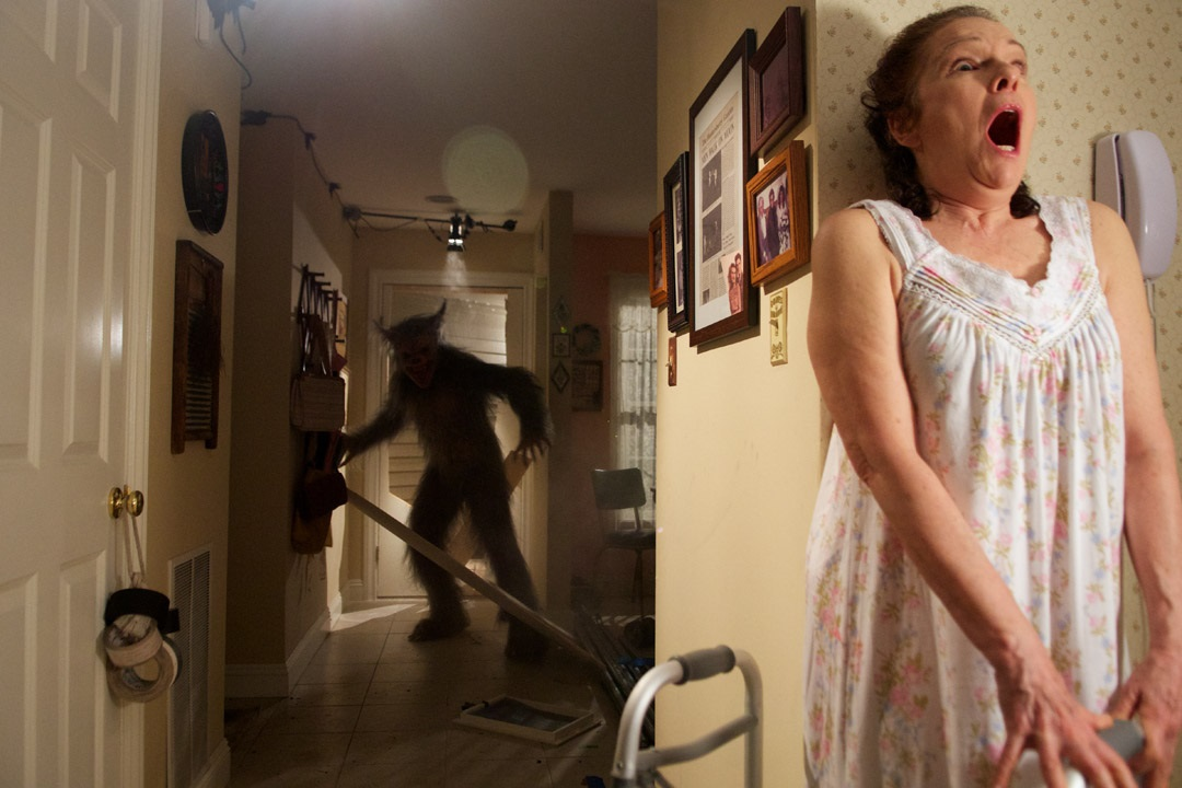 The werewolf enters the apartment of Karen Lynn Gorney in Late Phases (2014)
