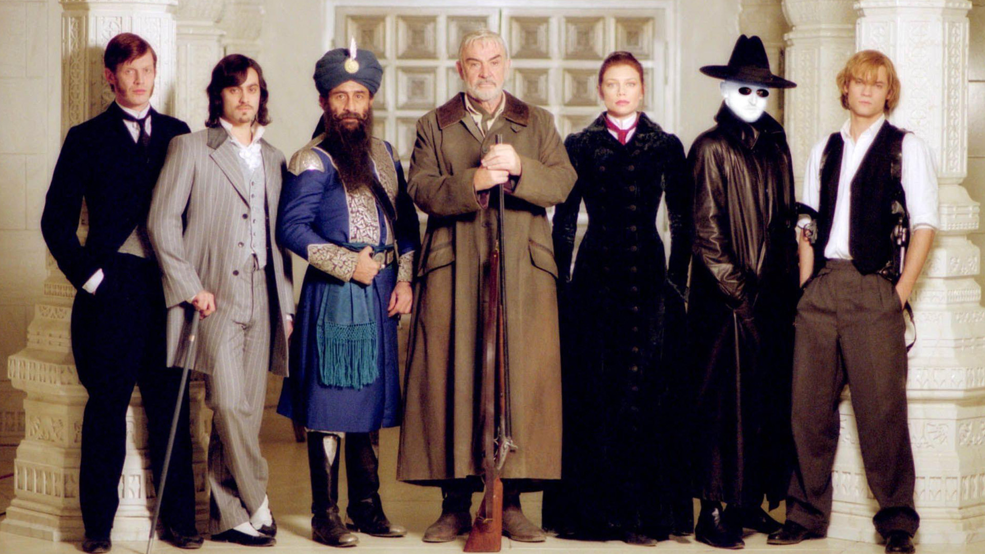 Dr Jekyll (Jason Flemyng), Dorian Gray (Stuart Townsend), Captain Nemo (Naseeruddin Shah), Allan Quatermain (Sean Connery), Mina Harker (Peta Wilson), The Invisible Man (Tony Curran) and Tom Sawyer (Shane West) in The League of Extraordinary Gentlemen (2003)