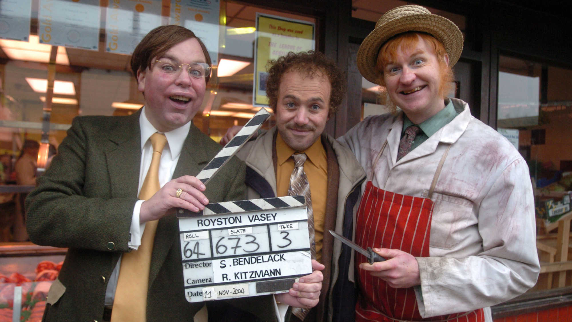 The League of Gentlemen on set - Steve Pemberton, Reece Shearsmith and Mark Gatiss in The League of Gentlemen's Apocalypse (2005)