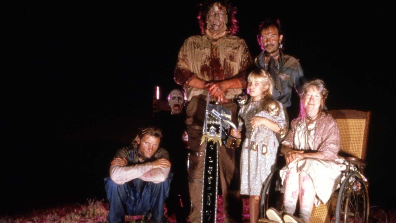 The backwoods family - (l to r) Eddie (Viggo Mortensen), Grandpa, Leatherface (R.A. Mihailoff), Little Girl (Jennifer Banko), Tink (Joe Unger) and Mama (Miriam Byrd-Nethery) in Leatherface: Texas Chainsaw Massacre III (1990)