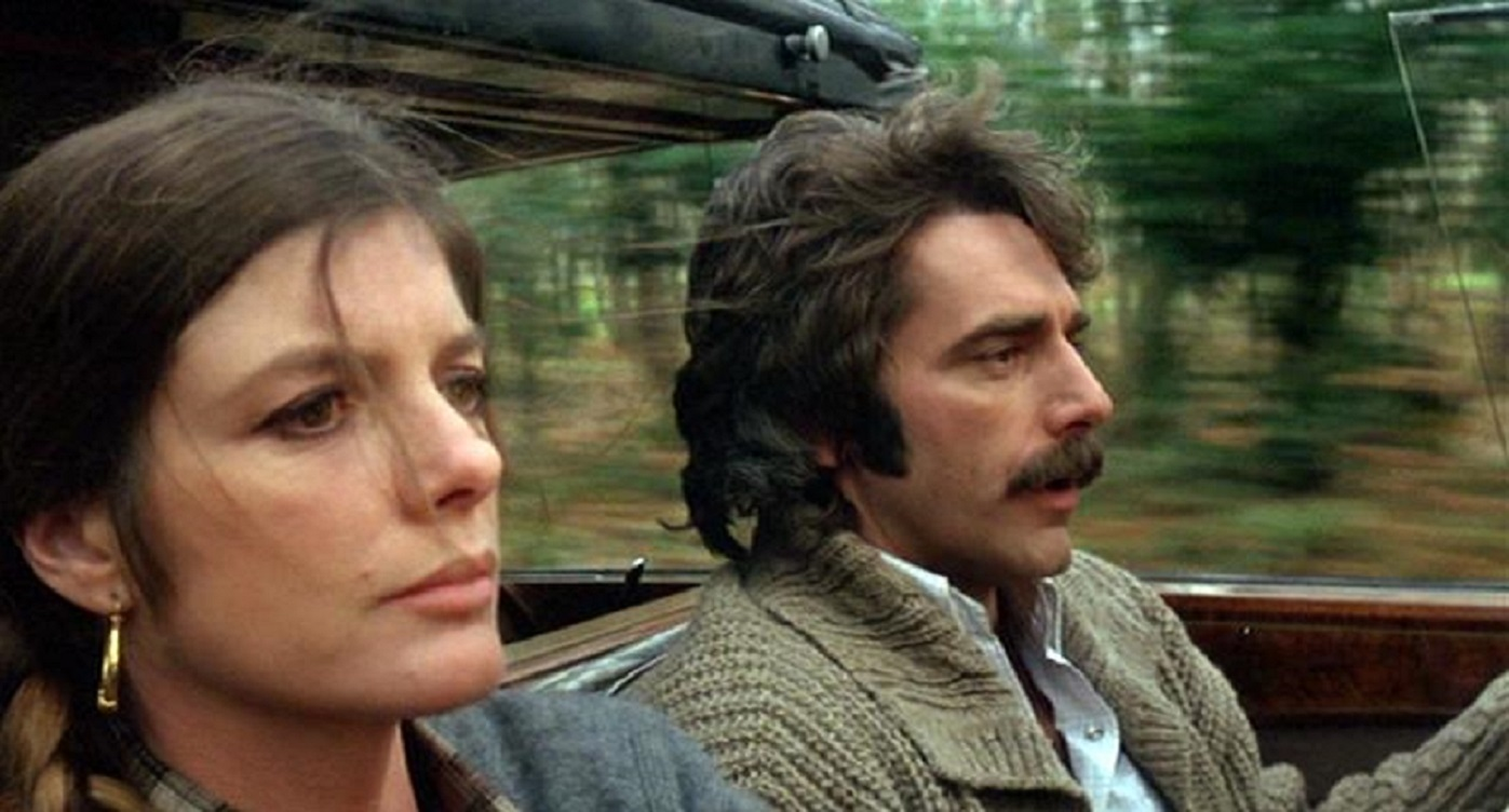 Katharine Ross and Sam Elliott head through the countryside in The Legacy (1978)