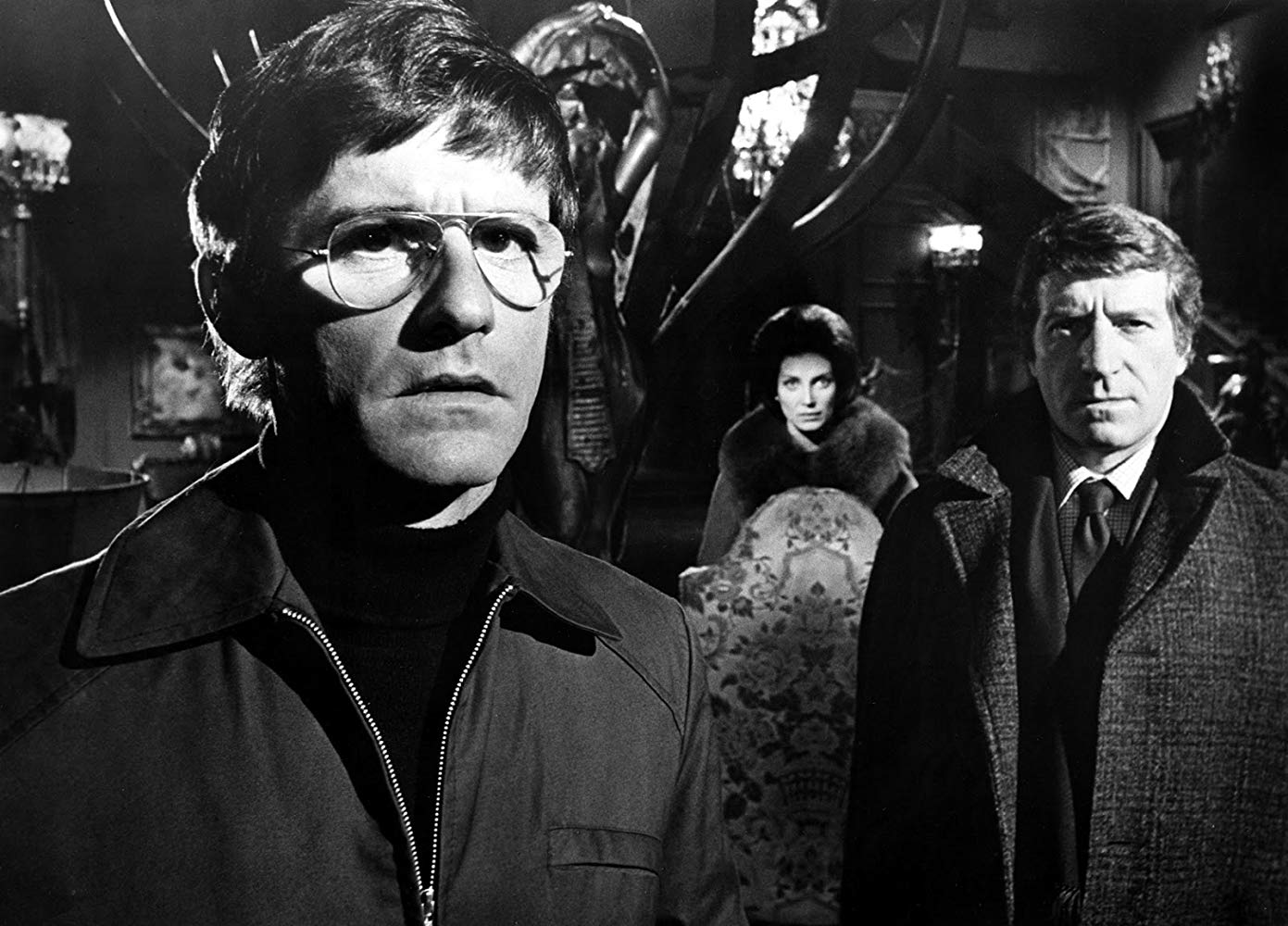 The team of parapsychologists - Roddy McDowall, Gayle Hunnicutt, Clive Revill - in The Legend of Hell House (1973)