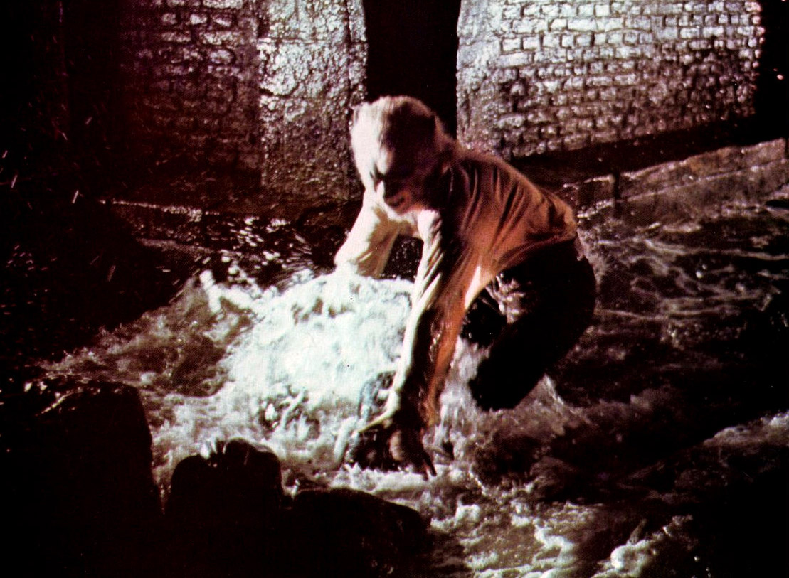 David Rintoul as the werewolf Etoile in the sewers in Legend of the Werewolf (1974)