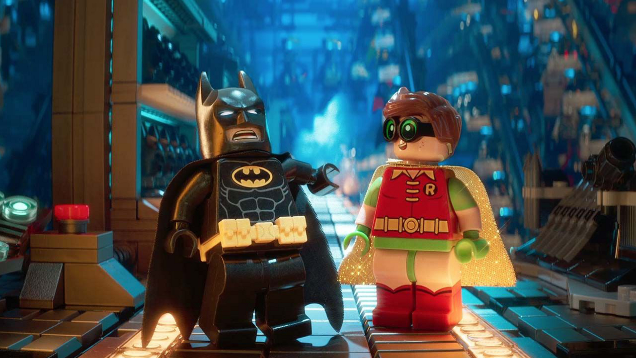 Lego Batman (voiced by Will Arnett) and Robin (voiced by Michael Cera) in The Lego Batman Movie (2017)