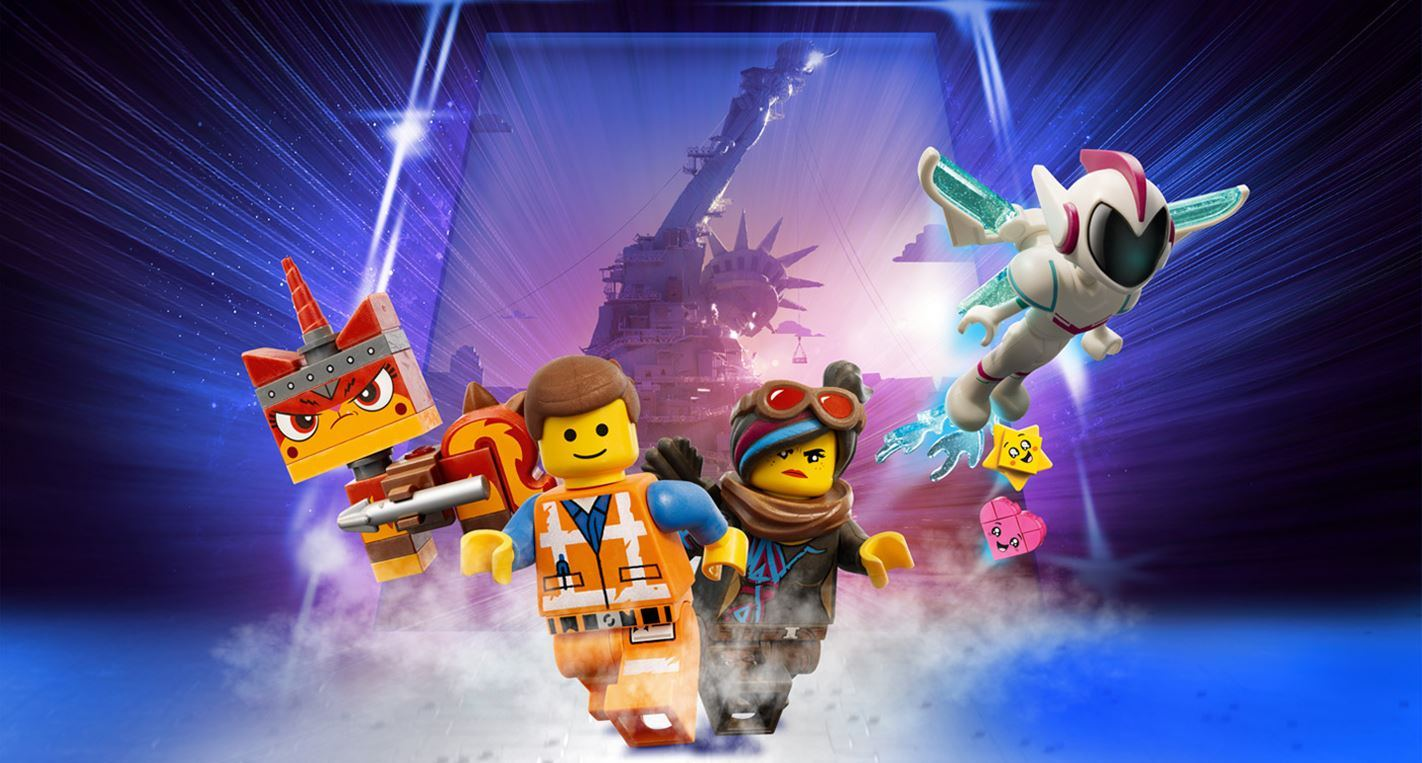 In action (l to r) Unikitty, Emmet, Lucy and General Mayhem with the ruins of Apocalypseburg in the background in The Lego Movie 2 (2019)