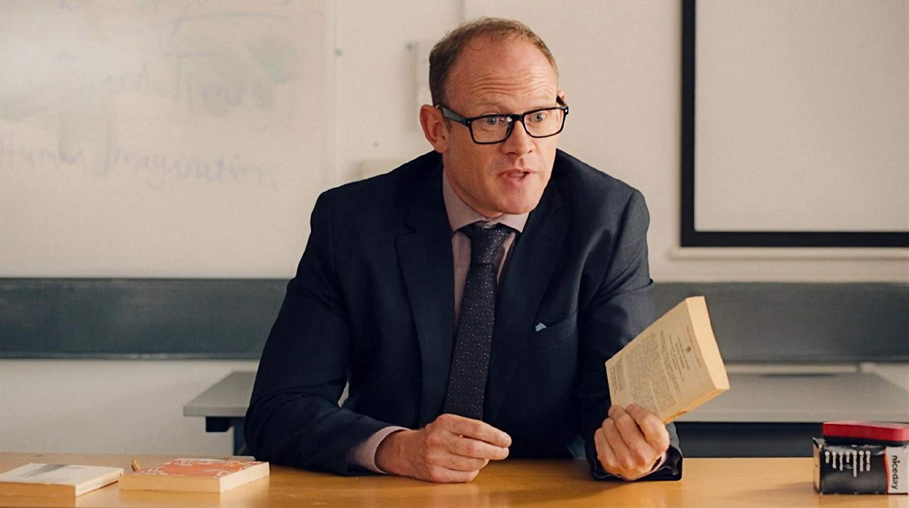 Robert Hands as Mr Gale, a milquetoast schoolteacher who snaps and tortures pupils in The Lesson (2015)